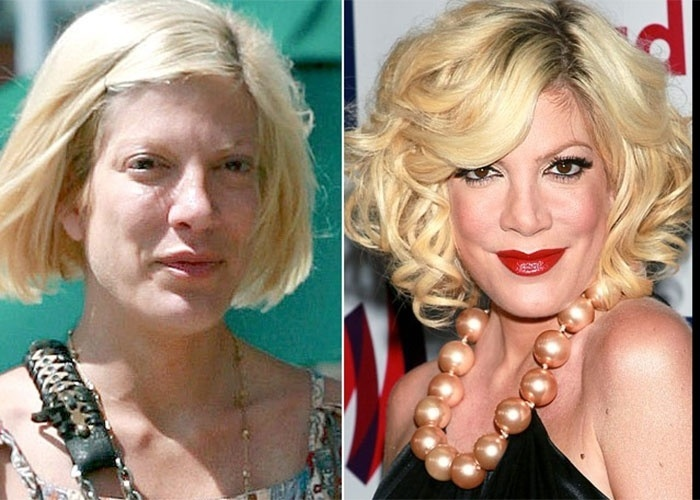 Tori Spelling fica bem diferente sem maquiagem