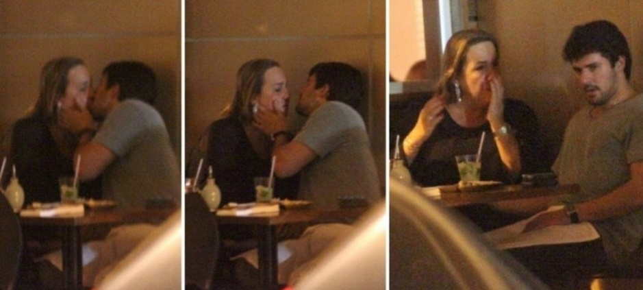 A atriz Cláudia Jimenez é fotografada aos beijos com Leonardo Moça em um restaurante no Leblon, zona sul do Rio de Janeiro (25/5/11)