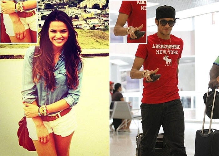 A atriz Bruna Marquezine,17, agora está usando uma aliança no dedo anular da mão direita, que simboliza compromisso (noivado?). Ela não admite oficialmente, mas tem sido apontada como namorada jogador de futebol Neymar, 20. Será que é só coincidência?