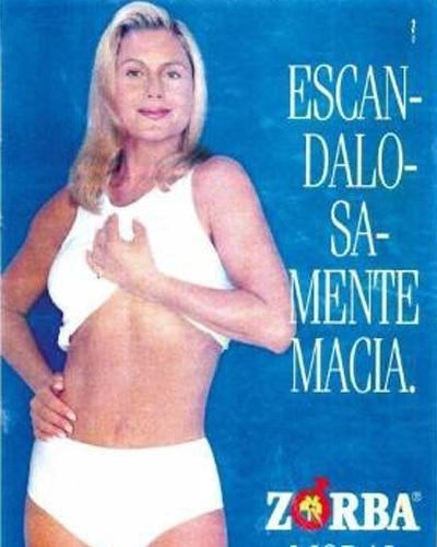 A atriz Vera Fischer durante campanha publicitária das cuecas Zorba (1999)