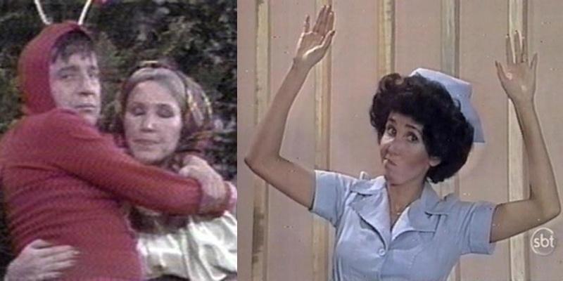 """Além de """"Chaves"""", a atriz era presença constante nos episódios de Chapolin. Na foto da esquerda, ela ajuda o herói Chapolin no papel da """"simples camponesa de nobre coração que vai todos os dias ao bosque recolher lenha""""; na outra foto, ela interpreta um vilão travestido de enfermeira."""