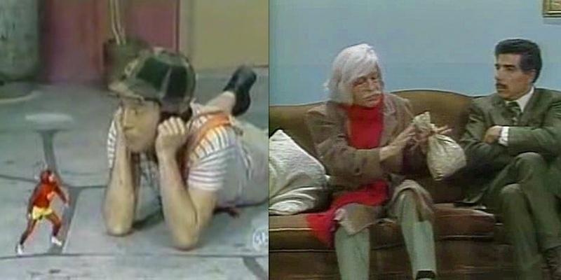 """Era frequente nos episódios de """"Chaves"""" e """"Chapolin"""" a utilização de diversos efeitos especiais, pouco comuns e sofisticados para o padrão da época. Na foto da esquerda, Chaves contracena com Chapolin, ambos vividos por Roberto Bolaños, que também interpretava o Dr. Chapatín (dir)."""