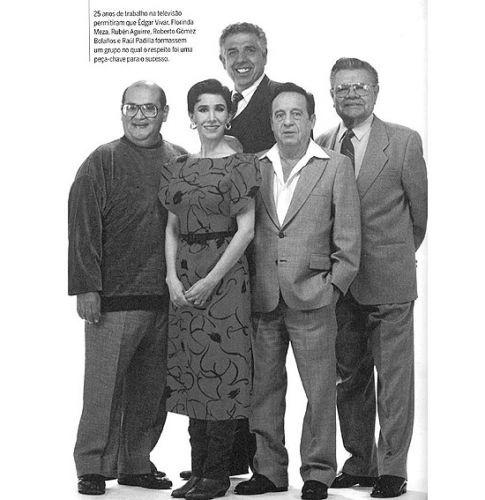 """Parte do elenco original da série """"Chaves"""". A imagem faz parte do livro 'Chaves: A História Oficial Ilustrada', de Maurício Tamboni."""