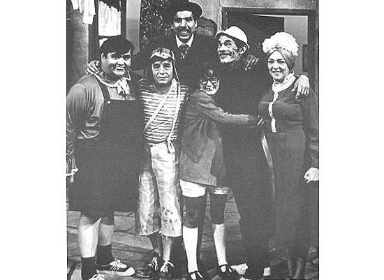 """Parte do elenco original do seriado mexicano """"Chaves"""". A imagem faz parte do livro 'Chaves: A História Oficial Ilustrada', de Maurício Tamboni."""