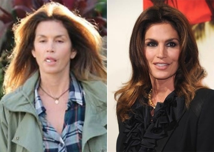 3.dez.2012 - Mera mortal como todos n&#243;s, a ex-modelo Cindy Crawford saiu mal na foto durante um passeio de compras em Los Angeles, nos Estados Unidos. A estrela estava de rosto lavado, sem nenhuma maquiagem e mascando um chiclete. Mesmo assim provou que est&#225; com a pele impec&#225;vel aos 46 anos