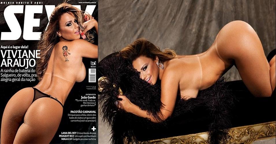 "Fev.2012 - A rainha de bateria do Salgueiro, Viviane Araújo, foi a capa da revista ""Sexy"" de fevereiro"