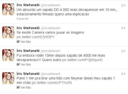 14.dez.2012 - Apresentadora Iris Stefanelli posta no Twitter após ficar indignada com roubo em São Paulo. A ex-BBV teve um par de sapatos de R$ 4 mil roubados