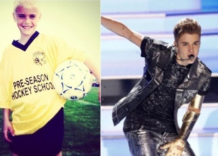 """23.dez.2012 - Justin Bieber presenteou as fãs com uma fotos dos tempo em que era um garotinho com cabelo oxigenado. """"Wow! Por que eu pensei que era o Eminem ou passaram água sanitária em meus cabelos"""", escreveu ele no Instagram"""