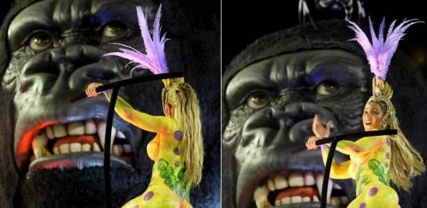 7.mar.2011 - Destaque do carro King Kong, Valesca Popozuda desfila na Salgueiro fantasiada de banana