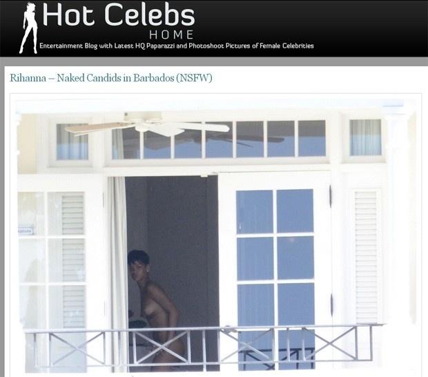 """29.dez.2012 -  Rihanna aparece nua e fumando um cigarro suspeito em fotos que circulam na internet. As imagens da cantora foram divulgadas pelo site """"Hot Celebs"""" e o flagra teria acontecido durante a semana do Natal, em Barbados, país de origem de Rihanna, onde ela passava férias. O crédito das fotos é de um fórum de fotos pornográficas"""