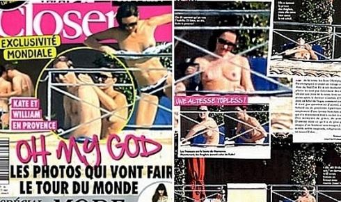 """A revista francesa """"Closer"""" publicou nesta sexta-feira uma série de fotos da duquesa britânica de Cambridge, Kate Middleton, tomando sol de topless em um castelo da França, causando um novo problema para a família real, que ainda tenta superar o escândalo das fotos do príncipe Harry nu (13/9/12)"""