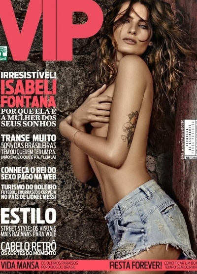 """29.jan.2013 - De topless e shortinho, a top Isabeli Fontana é a capa da revista """"VIP"""" de fevereiro. A publicação anuncia a beldade como """"Isabeli Fontana, a mulher dos seus sonhos"""". A imagem foi divulgada no Twitter da publicação"""