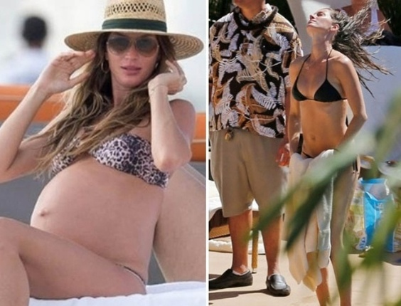 9.fev.2013 - A modelo Gisele B&#252;ndchen mostrou a boa forma em uma foto divulgada pelo TMZ neste s&#225;bado &#40;9&#41;. Gisele, que deu &#224; luz h&#225; dois meses, aparece na imagem curtindo a piscina de um hotel no Hava&#237;, onde curte f&#233;rias com os filhos e o marido, o jogador Tom Brady. Vivian Lake Brady, primeira menina do casal, nasceu em 5 de dezembro de 2012. Brady e B&#252;nchen tamb&#233;m s&#227;o pais de Benjamim, de tr&#234;s anos. Na foto da esquerda, de novembro de 2012, a modelo estava com aproximadamente oito meses de gesta&#231;&#227;o