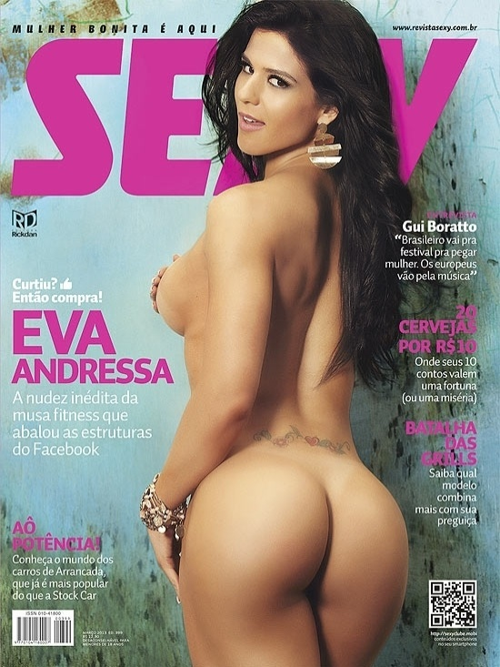 15.fev.2012- As curvas da musa fitness Eva Andressa estampam a capa da revista &#34;Sexy&#34; de mar&#231;o. Eva, que j&#225; participou de competi&#231;&#245;es de body fitness, aparece de costas na imagem e mostra a tatuagem que tem nas costas, perto do bumbum. O resultado dos treinos de Eva poder&#227;o ser vistos na revista