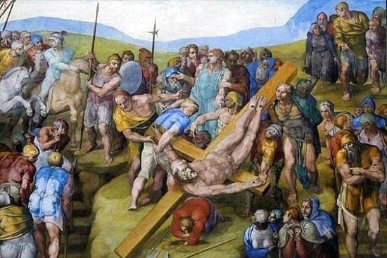 """""""Crucificação de São Pedro"""" é o quadro pintado por Michelângelo e que também pode ser visto no Vaticano"""