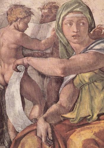 """Em um dos painéis no teto da capela Sistina está pintada a """"Sibila Délfica"""". As sibilas, da tradição greco-romana, são as únicas figuras no teto da capela que não são da Bíblia. As cinco sibilas, presentes nos afrescos de Michelangelo, teriam profetizado o nascimento de Cristo"""