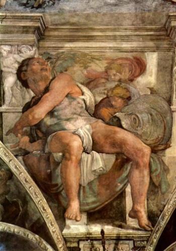 """""""Jonas"""" é um dos afrescos de Michelangelo e mostra um dos sete profetas retratados no teto da capela Sistina. A pintura fica sobre o altar e Jonas aparece ao lado do grande peixe que o teria engolido"""