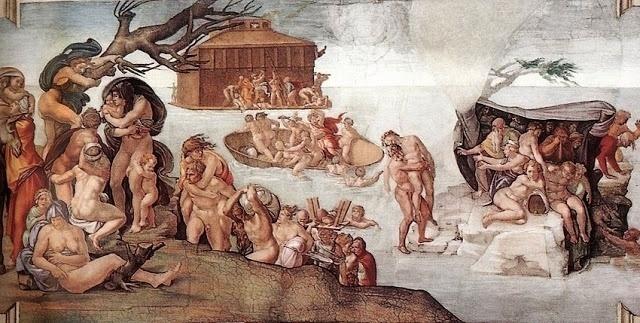 """""""O Dilúvio"""" também está retratado em um dos painéis no teto da capela Sistina. É a cena central dos três afrescos que retratam a vida de Noé, é possível ver a arca com que a família do profeta se salvou e pessoas ao redor tentando escapar do dilúvio"""