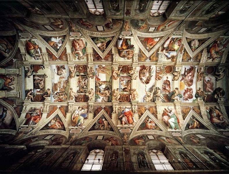 """Pintados por Michelangelo entre 1508 e 1512 a pedido do papa Júlio 2º, os afrescos da capela Sistina são obras mundialmente conhecidas e marcos da Renascença. Ao todo são nove painéis principais que falam sobre as passagens do """"Gênesis"""""""