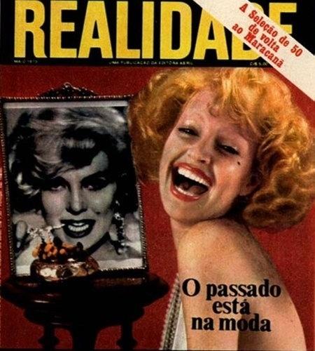 "1973 - Elke Maravilha encarna a atriz Marilyn Monroe na capa da revista ""Realidade"""