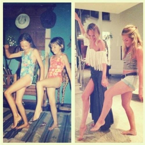 """21.fev.2013 - A top model Candice Swanepoel publicou uma foto de sua infância no Instagram. Na imagem, aparece em uma montagem com antes e depois ao lado de sua melhor amiga: """"Antes, aos 7 anos de idade ? Agora, 24 anos de idade. #amigaparavida"""", postou a beldade na legenda"""
