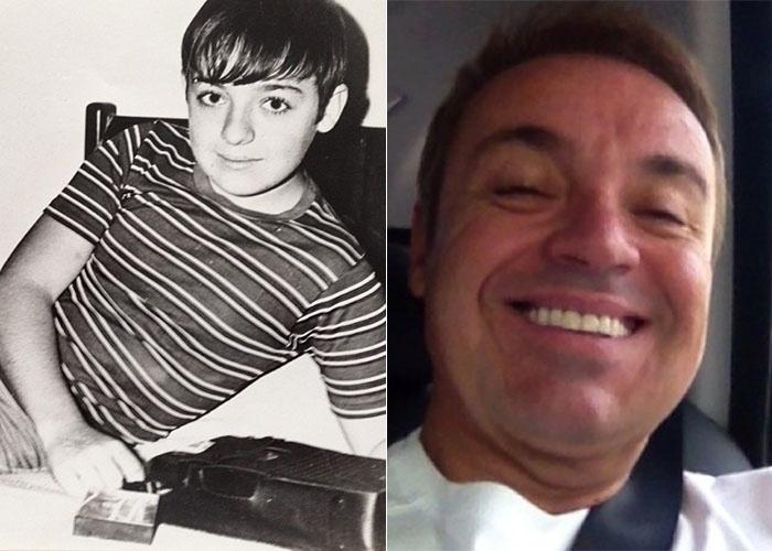"""21.fev.2013 - O apresentador Gugu Liberato divulgou nesta quinta-feira uma imagem em preto e branco dos tempos de garoto: """"Meu primeiro gravador k7 aos 11 anos"""", escreveu na legenda da foto na web"""