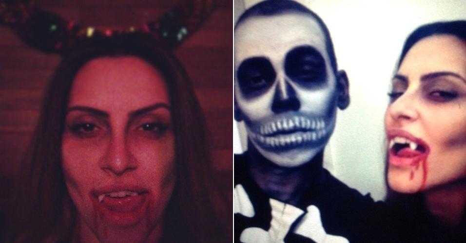 """23.fev.2013 - Cleo Pires presenteou os fãs com uma foto de """"terror"""". A bela postou no Instagram imagens em que aparece com dentes de vampiro e até sangue na boca. À direita, a atriz posa ao lado de um amigo com rosto pintado de caveira"""