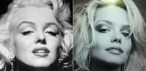 """A atriz Thaís Fersoza postou em seu Twitter uma foto em que aparece transformada em Marilyn Monroe. """"Bem que meu pai me chamava de Marilyn quando criança por causa da pinta..."""", escreveu ela no microblog"""