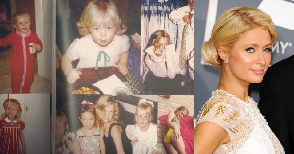 """5.abr.2013 - Nostálgica, a socialite Paris Hilton presenteou os fãs com um mosaico de fotos da sua infância. """"Paris bebê """"Flashback de sexta"""", escreveu a loira na legenda imagem divulgada no Instagram. A beldade, de 33 anos, é famosa por ser uma das personalidades mais ricas do meio artístico e também por polêmicas que ganharam os noticiários"""