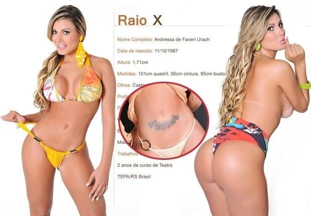 16.mai.2013 - Andressa Urach está tendo uma enorme dor de cabeça com as 10 tatuagens que traz no corpo. A pedido de seu assessor americano, as fotos da modelo que ilustram seu portfólio tiveram os desenhos de seu corpo apagados com ajuda do Photoshop.
