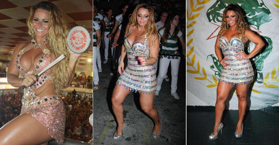 Viviane Araújo, 36 anos, é rainha de bateria da Mancha Verde em São Paulo e do Salgueiro, no Rio de Janeiro. A modelo tem 1,64 m e pesa 60 kg. Medidas: 103 cm de quadril, 69 cm de cintura e 97 cm de busto.