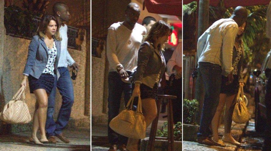 A atriz Fernanda Souza é flagrada ao lado do namorado, o cantor Thiaguinho, vocalista do Exaltasamba, na saída de um restaurante em Ipanema, na zona sul do Rio de Janeiro (26/5/11)