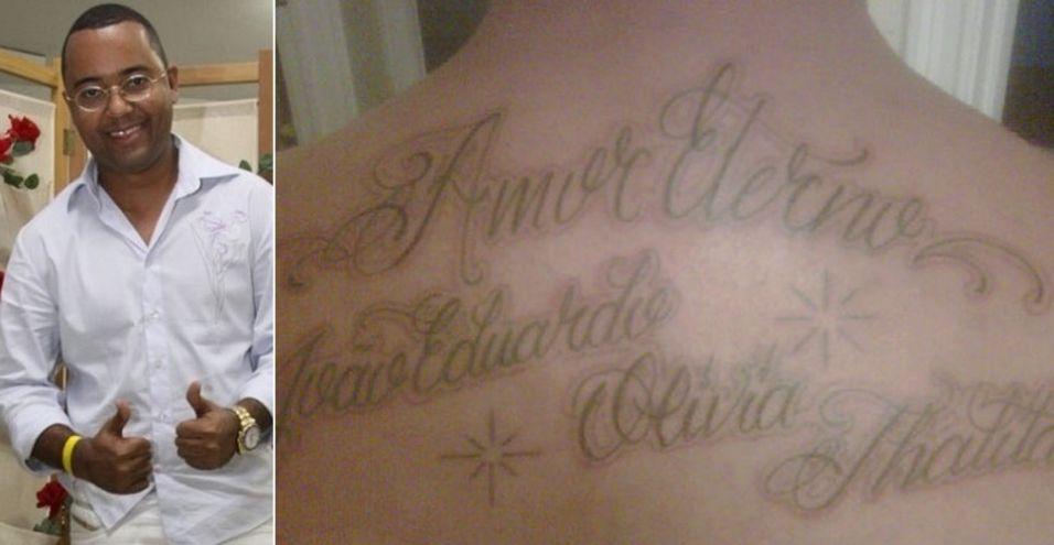 O sambista Dudu Nobre tatuou os nomes dos filhos Olívia, Thalita e João Eduardo nas costas
