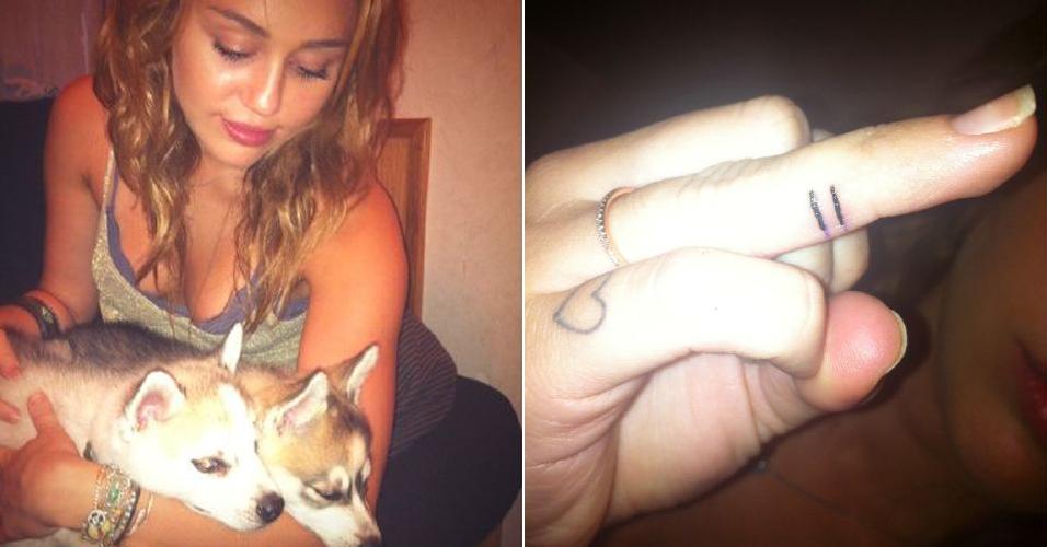 Em apoio ao casamento gay, a cantora e atriz Miley Cyrus exibiu em seu Twitter uma tatuagem em um de seus dedos (à direita) e escreveu: