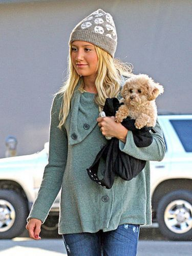 Ashley Tisdale com seu cachorrinho