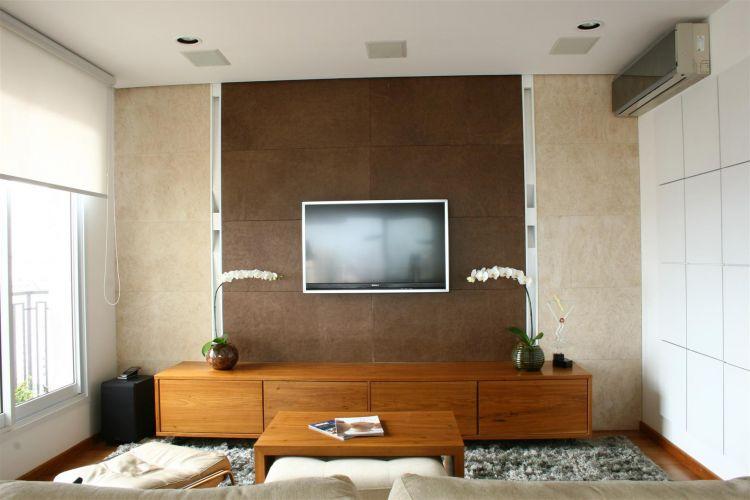 Decoracao De Sala Com Tv Na Parede ~ decoracao de sala tv na paredeescritório de arquitetura FGMF usou