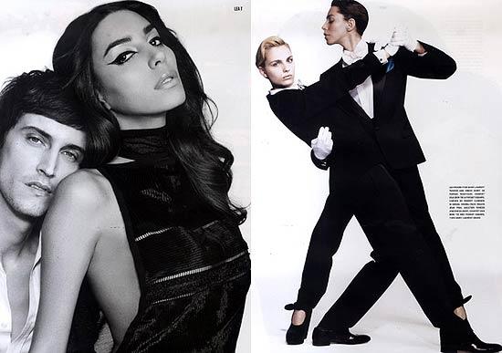 A modelo transexual Lea T. (à direita nas imagens) fez um ensaio para a revista