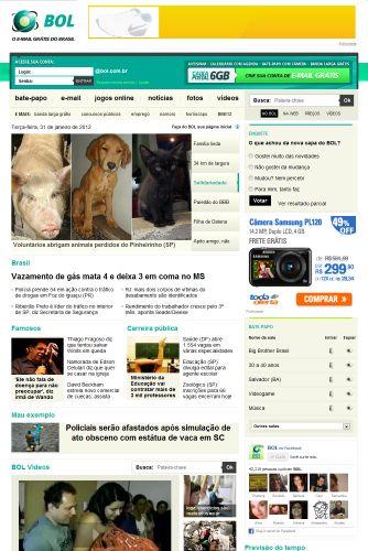 Quarta-feira (1/2) - O portal BOL estreia sua nova home page. A nova capa do BOL tem letras e imagens maiores, além de mais espaço para notícias.