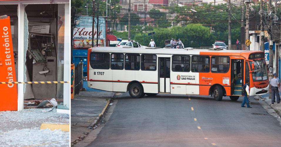 Terça-feira (13/3) - Quadrilha explode cinco caixas eletrônicos de uma agência bancária do Itaú, no Jardim São Jorge, zona oeste de São Paulo, por volta das 3h. Após explodirem os caixas, os criminosos renderam o motorista de um ônibus, que foi utilizado para bloquear a rua Domingos Rosolia para facilitar a fuga. Houve perseguição e os criminosos dispararam tiros de armas de grosso calibre contra os policiais.