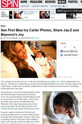 """A revista """"Spin"""" mostrou duas fotos da filha de Beyoncé e Jay-Z, a pequena Blue Ivy Carter"""