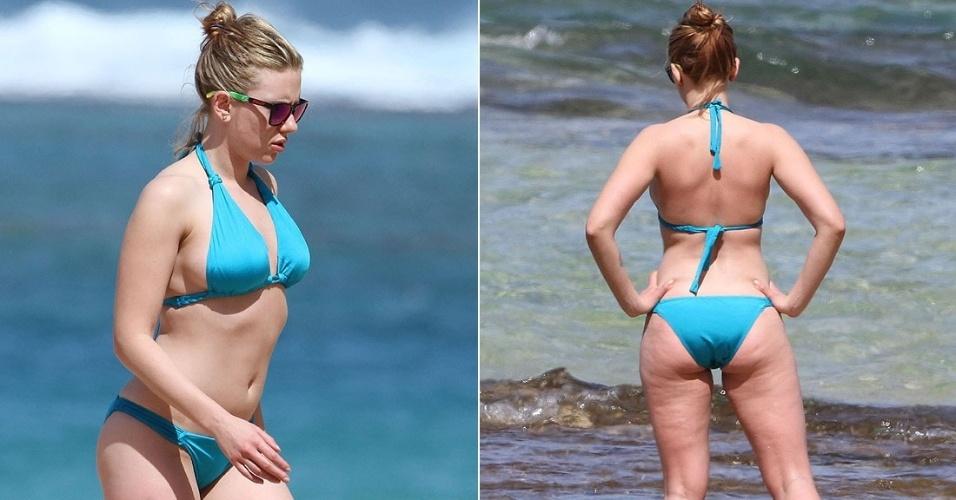 A atriz Scarlett Johansson passou o fim de semana com o namorado, Nate Naylor, e alguns amigos em uma praia no Havaí  (13/2/12)