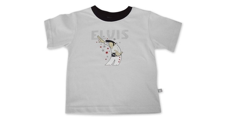 Camiseta Elvis unissex, modelo de malha penteada e 100% algodão. Nos tamanhos de 0 a 3 anos. Preço: R$ 45, na Baby Rock (www. babyrock.com.br). Preço consultado em março de 2012