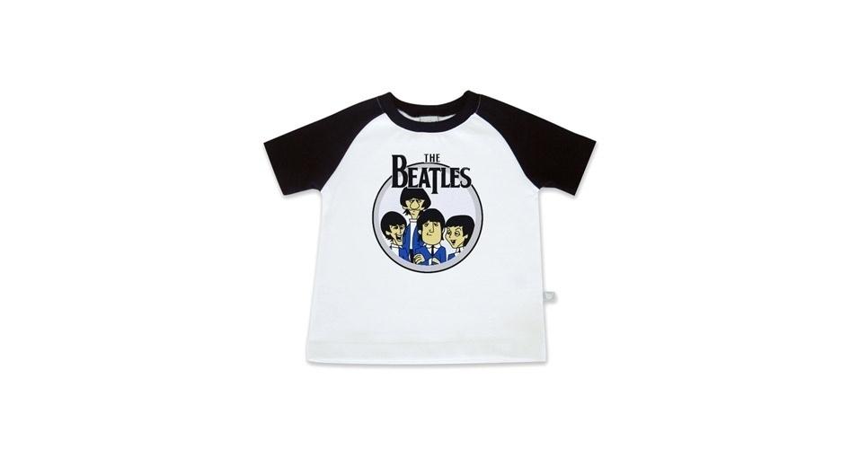Camiseta The Beatles unissex, modelo de manga curta, confeccionado com malha penteada e 100% algodão. Nos tamanhos de 0 a 3 anos. Preço: R$ 45, na Baby rock (www. babyrock.com.br). Preço consultado em março de 2012