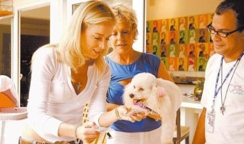 Angélica, magrinha, confere o crachá de Belinha, a cachorra de Ana Maria Braga, durante o programa 'Estrelas', da TV Globo (abr.2006).