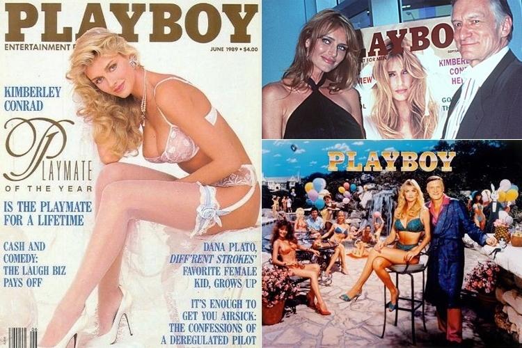 """Kimberley Conrad foi destaque da """"Playboy"""" pela primeira vez em 1988, mas apenas um ano depois ela começou o relacionamento com o dono da revista."""