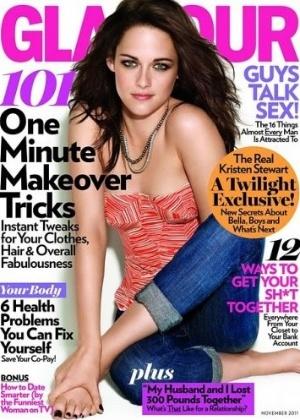 A atriz Kristen Stewart sofreu com erro de edição de imagem. O 'toscoshop' atacou a atriz em ensaios para a revista 'Glamour' de novembro de 2011: a Bella da saga 'Crepúsculo' ficou sem o antebraço esquerdo na capa da publicação (16/10/11)