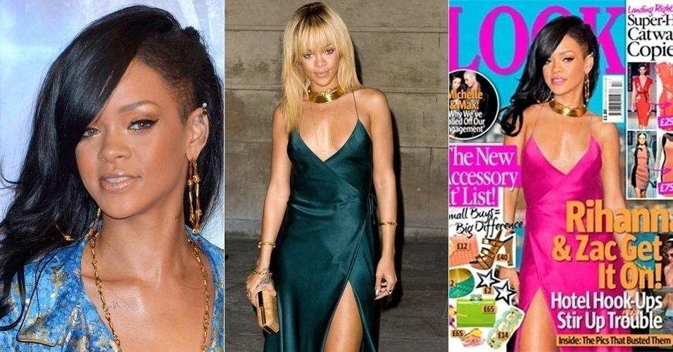 """A partir de duas diferentes fotos da cantora Rihanna, a revista inglesa """"Look"""" cria visual """"exclusivo"""" para ilustrar a capa da publicação (20/4/12). O truque de edição, no entanto, não passou despercebido por um blog especializado em looks de gala. Saiba em detalhes como a imagem foi montada."""