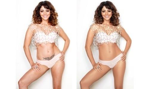 """A tatuagem de Carol Castro sumiu na revista """"Boa Forma"""" de junho de 2010. A atriz também ficou com a barriga chapada e a pele lisinha e bronzeada. A foto do """"antes"""" teria sido divulgada por engano"""