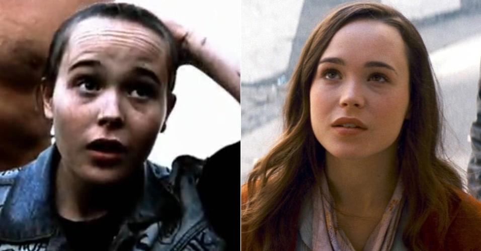 """Ellen Page no filme """"Mouth to Mouth"""" (2005); à direita, a atriz em """"A Origem"""" de 2010"""