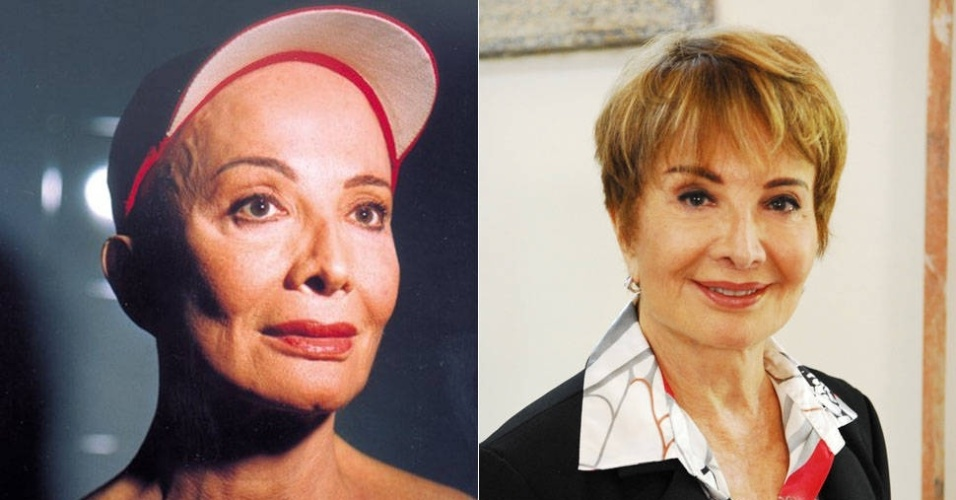 """Glória Menezes na peça """"Jornada de um Poema"""" para qual ela raspou a cabeça; e em foto de 2012"""